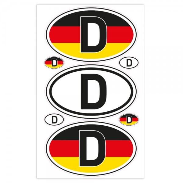 Autoaufkleber Länderkennzeichen - Deutschland (7 Stück - 200x300 mm)
