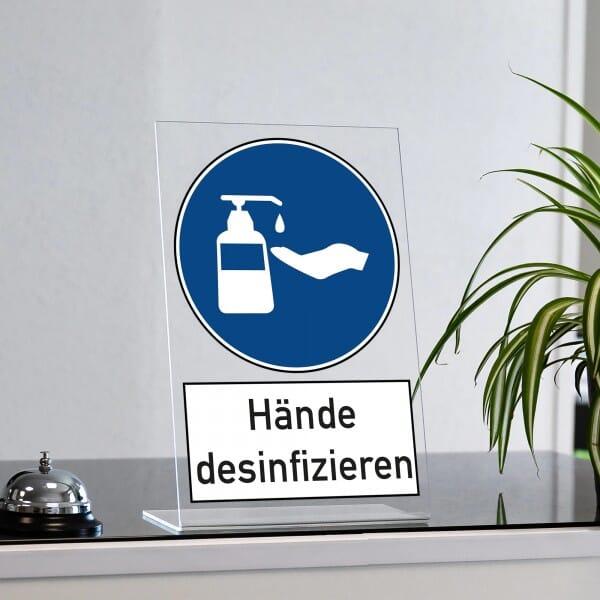 "Acrylaufsteller ""Hände desinfizieren"" (ca. 200x300 mm)"