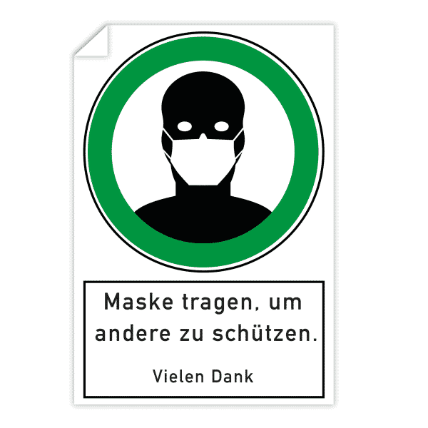 3 Stück Aufkleber 200x300 mm - Maske tragen, um andere zu schützen