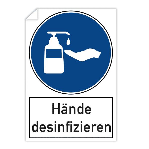 3 Stück Aufkleber 200x300 mm - Hände desinfizieren