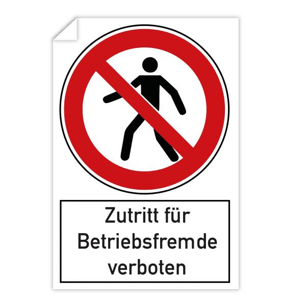 3 Stück Aufkleber 200x300 mm - Zutritt für Betriebsfremde verboten