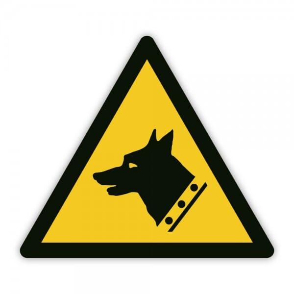Warnaufkleber vor dem Hund