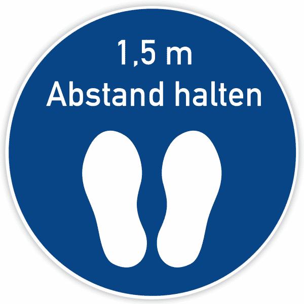 Fußbodenaufkleber 400x400 mm / Blau - Abstand halten
