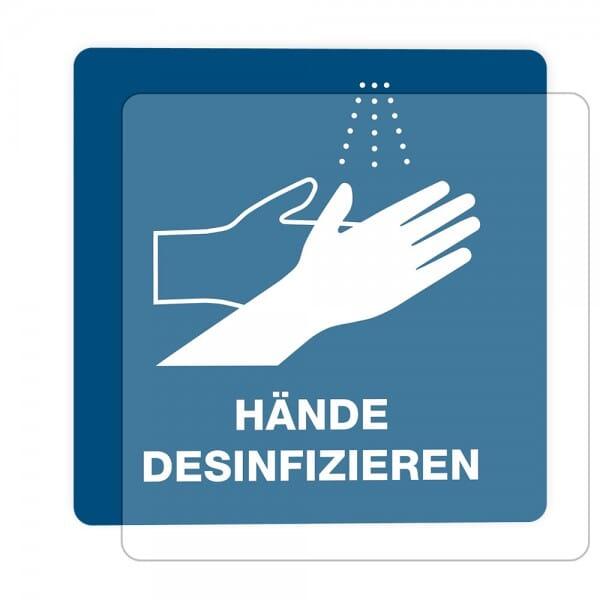 3 Stück Hinweis-Hinterglasaufkleber - Hände desinfizieren(150x150 mm)-
