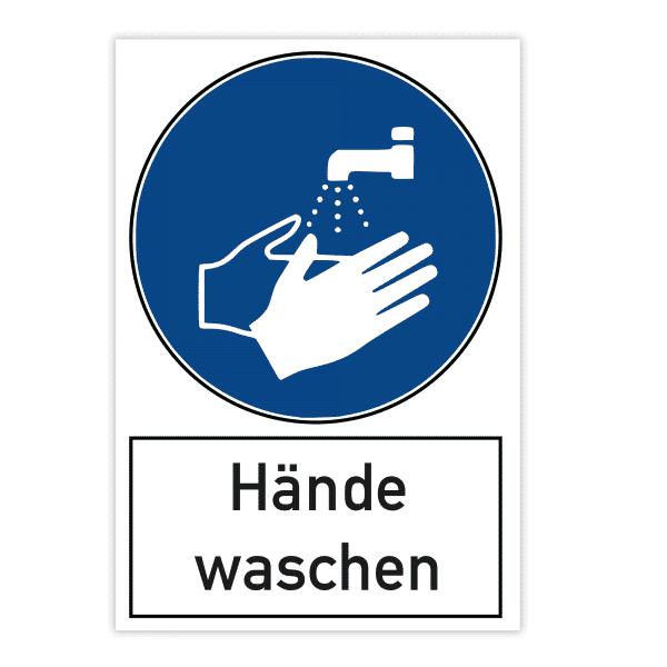 Warnschild 200x300x4 mm - Hände waschen