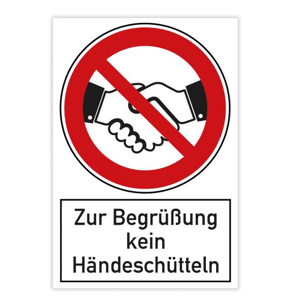 Verbotsschild 200x300x4 mm - Zur Begrüßung kein Händeschütteln