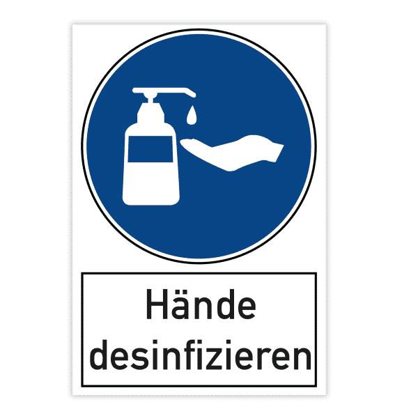 Warnschild 200x300x4 mm - Hände desinfizieren