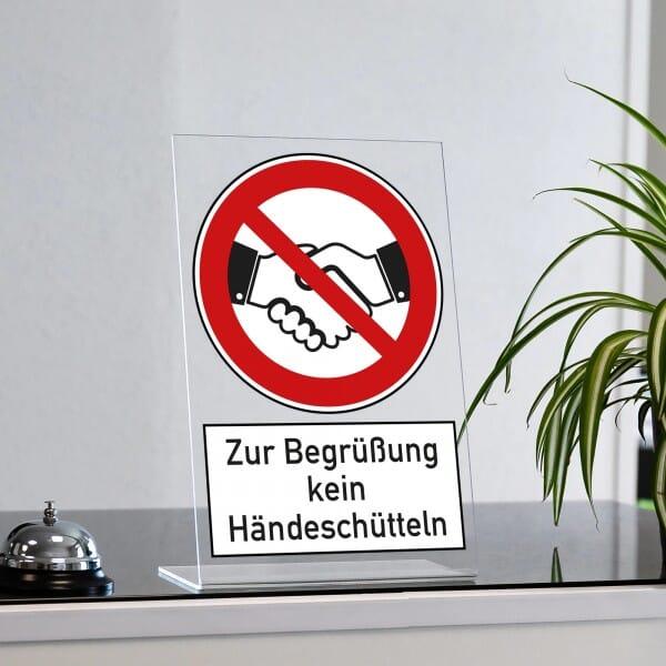 """Acrylaufsteller """"Zur Begrüßung kein Händeschütteln"""" (ca. 200x300 mm)"""