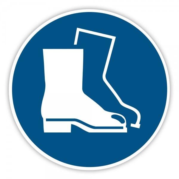 Gebotaufkleber Fußschutz benutzen