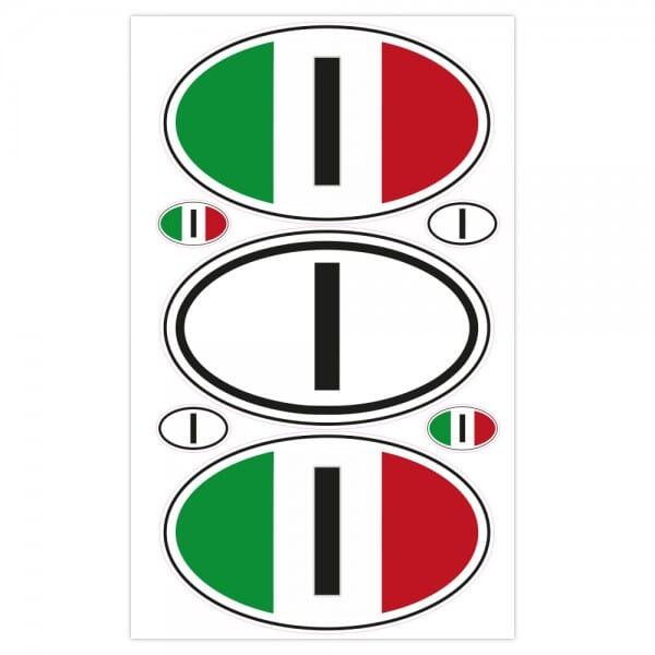 Autoaufkleber Länderkennzeichen - Italien (7 Stück - 200x300 mm)