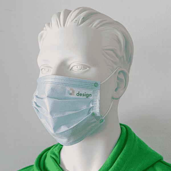 50 Stück Einweg Alltagsmasken mit Ihrem Logo / Text (Druckfläche 50x20 mm/ Aufkleber)