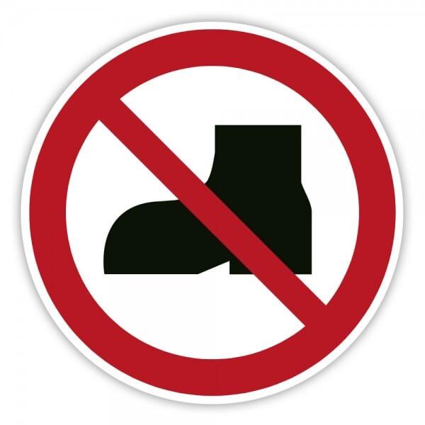 Verbotsschild Straßenschuhe verboten