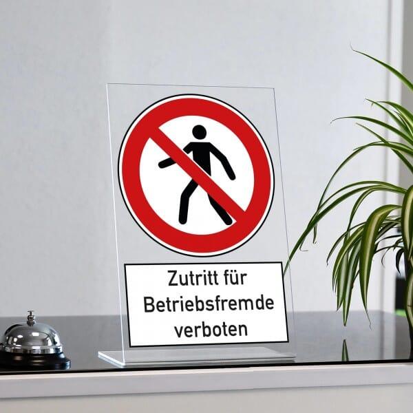 "Acrylaufsteller ""Zutritt für Betriebsfremde verboten"" (ca. 200x300 mm)"