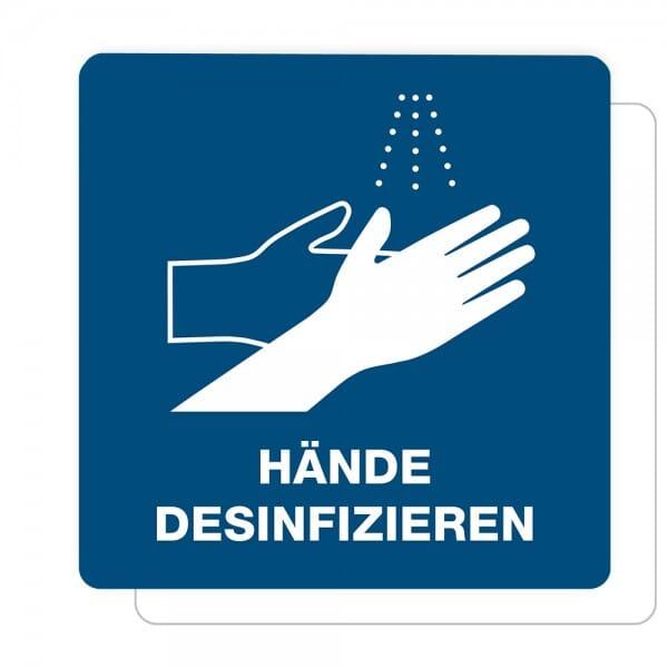 3 Stück Hinweis-Aufkleber - Hände desinfizieren (150x150 mm)