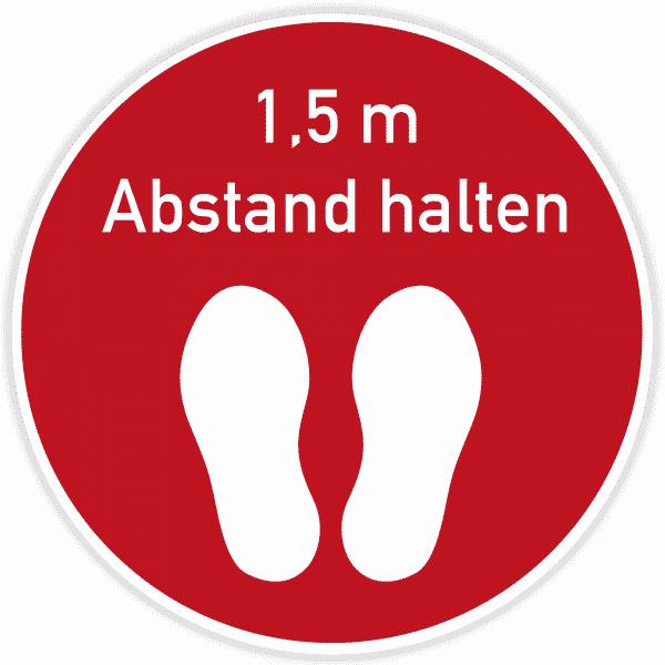 Fußbodenaufkleber 400x400 mm / Rot - Abstand halten