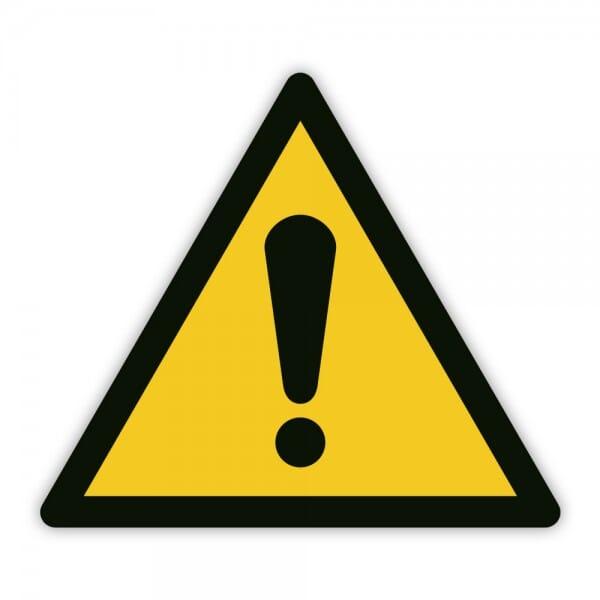 Warnaufkleber vor einer Gefahrenstelle