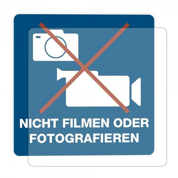 3 Stück Hinweis-Hinterglasaufkleber - Nicht Filmen oder Fotografieren (150x150 mm)