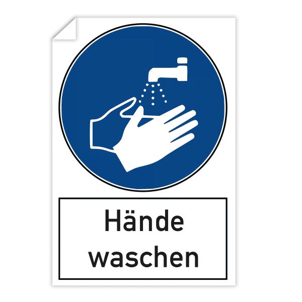 3 Stück Aufkleber 200x300 mm - Hände waschen