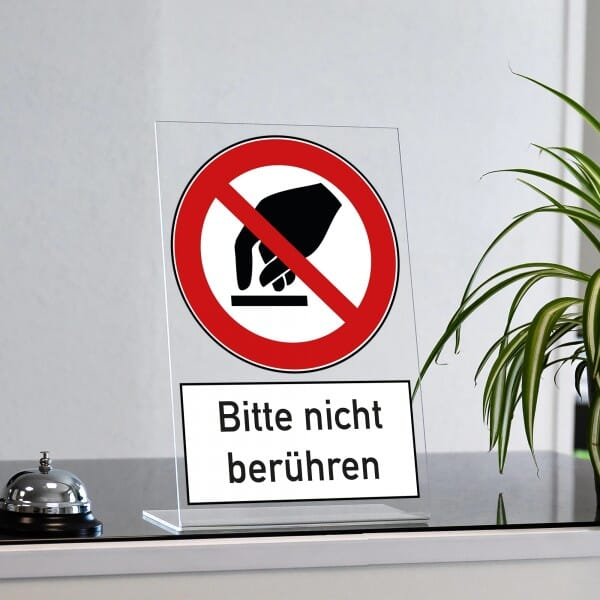 "Acrylaufsteller ""Bitte nicht berühren"" (ca. 200x300 mm)"