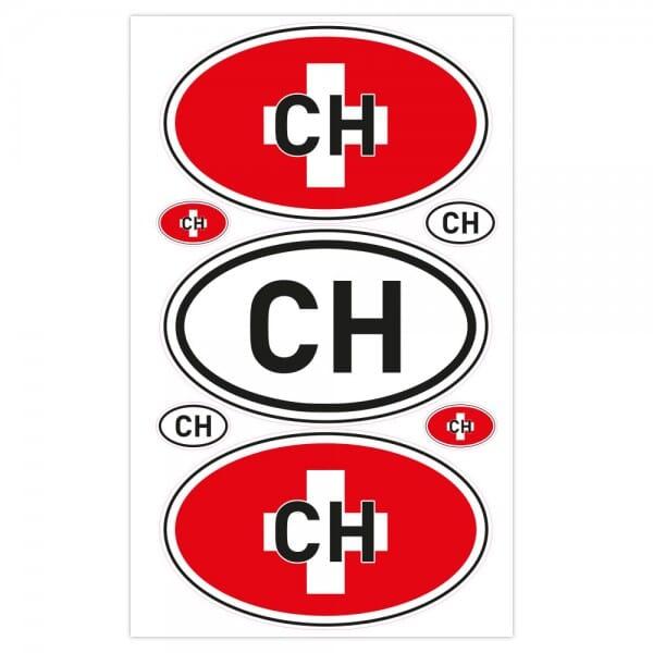 Autoaufkleber Länderkennzeichen - Schweiz (7 Stück - 200x300 mm)