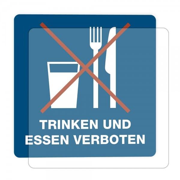 3 Stück Hinweis-Hinterglasaufkleber - Trinken und Essen verboten (150x150 mm)