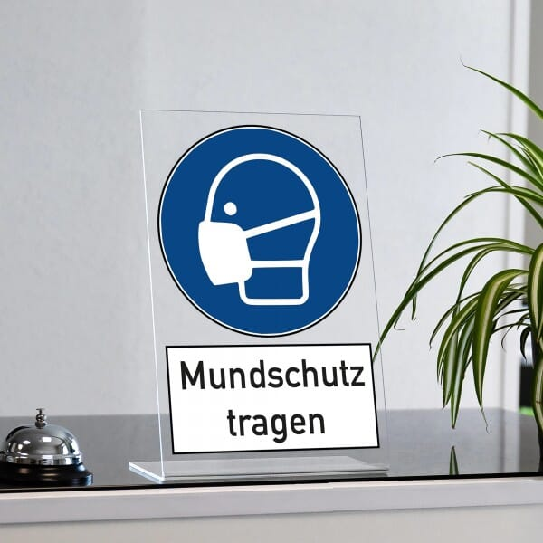 """Acrylaufsteller """"Mundschutz tragen"""" (ca. 200x300 mm)"""