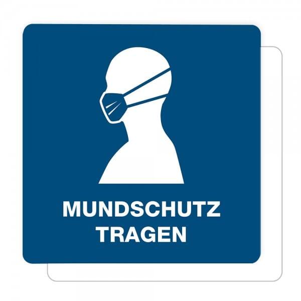 3 Stück Hinweis-Aufkleber - Mundschutz tragen (150x150 mm)